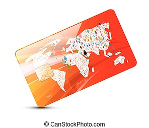 Credit Card - Vector Red Credit Card Illustration with World Map Isolated on White Background