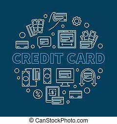 Credit Card vector round illustration on blue background