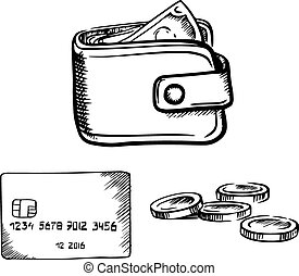 Credit card, wallet with money and coins sketch