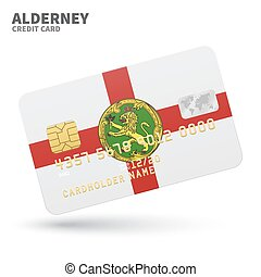 Credit card with Alderney flag background for bank, presentations and business.