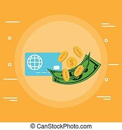 credit card with coins and bills money