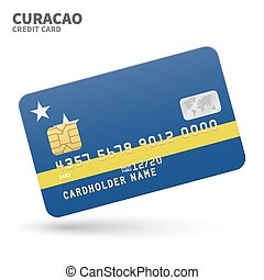 Credit card with Curacao flag background for bank, ...