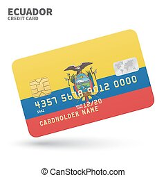 Credit card with Ecuador flag background for bank,...