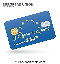 Credit card with European Union flag background for bank,...