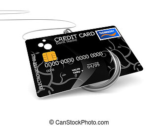 Credit card with fishing hook