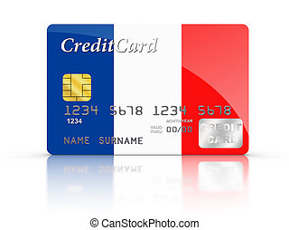 Credit Card with French flag.