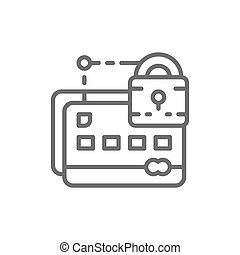 Credit card with lock, web security line icon.
