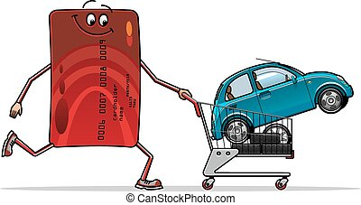 Credit card with new car in shopping cart