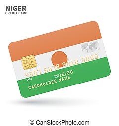 Credit card with Niger flag background for bank,...