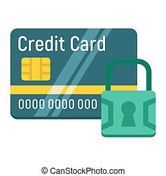 Credit Card with padlock flat icon, protection
