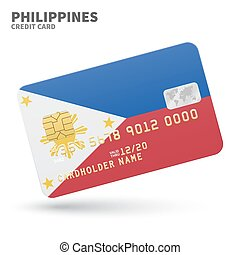 Credit card with Philippines flag background for bank,...