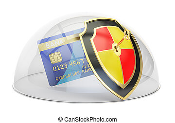 Credit card with security shield and glass dome. Protection concept, 3D rendering