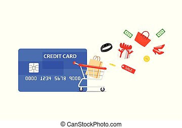 Credit card with shopping cart isolated on white background.