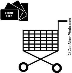 Credit card with shopping cart on white background