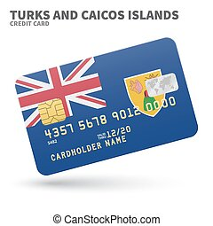 Credit card with Turks and Caicos Islands flag background...