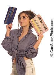 Credit card - Young woman holding internet credit cards on ...