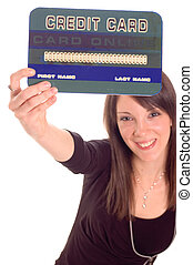 Credit card - Young woman holding online credit cards,...