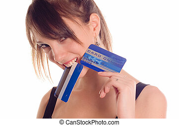 Credit card - Young woman holding online credit cards on ...