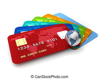 Credit cards - 3d render illustration of conceptual credit...