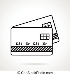 Black flat line vector icon for credit or payment cards on white background.