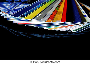 Credit cards - colorful credit cards on a black background