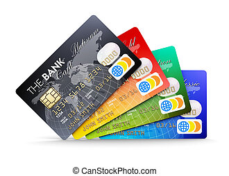 Credit cards - Creative abstract electronic banking and...