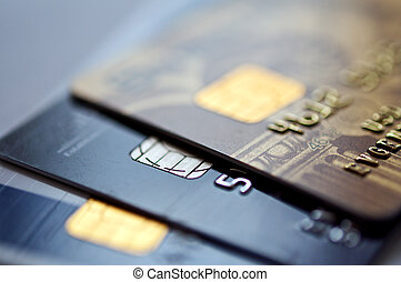 Credit cards - credit cards on a blue background, selective ...