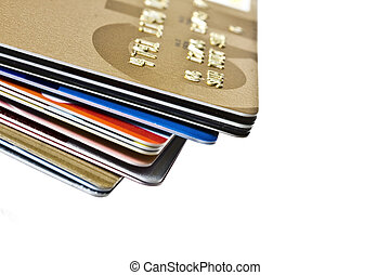 Credit Cards - Different credit Cards closeup on white...