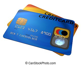 credit cards - 3d rendered illustration of a blue and a...