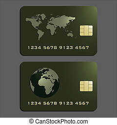 Credit cards - Elegant credit cards in green and gold,...