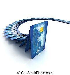 credit cards falling as dominoes 3d illustration