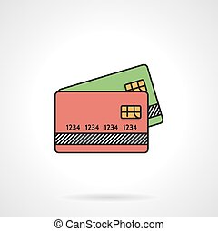 Credit cards flat color vector icon