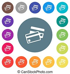 Credit cards flat white icons on round color backgrounds