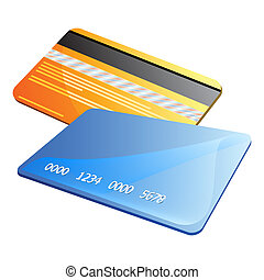 Credit cards - Front and back of abstract colorful credit...