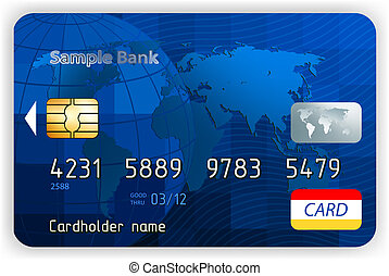 Credit cards, front view (no transparency). EPS 8 - Credit...