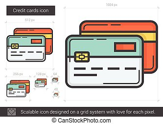 Credit cards line icon.