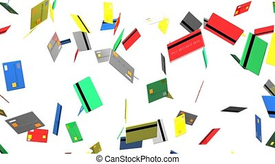 Credit cards on white background. Loop able 3D render...