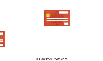 credit cards passing side by side HD animation - credit...