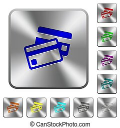 Credit cards rounded square steel buttons
