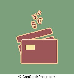 Credit cards sign with currency symbols. Vector. Cordovan icon a