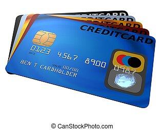 credit cards - 3d rendered illustration of some credit cards