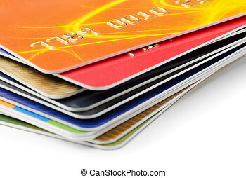 Credit cards - Stack of credit cards on white background