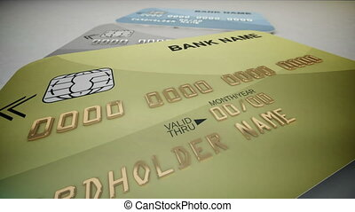 """""""Credit Cards"""" - """"Set of color credit cards isolated on..."""