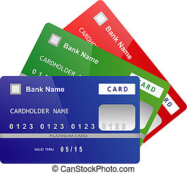 Credit Cards vector - Set of color bank credit cards folded...