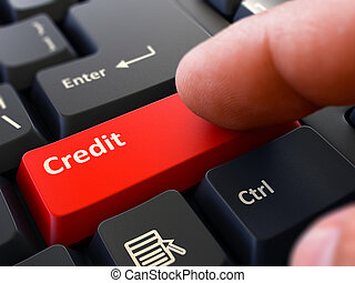 Credit Concept. Person Click Keyboard Button.