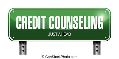 credit counseling sign illustration design over a white ...