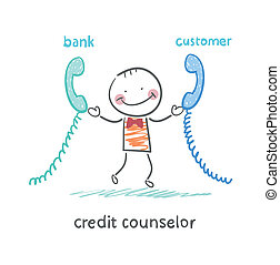 credit counselor talking on the phone with the bank and the...