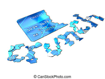 A concept credit card shattered into pieces that spell out the word crunch on an isolated background