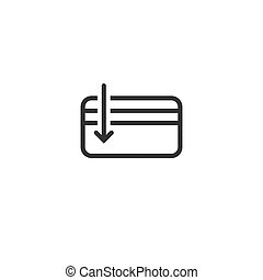 Credit Debit Card with arrow. Bank account sign. Vector flat...