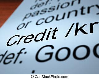 Credit Definition Closeup Showing Cashless Payment